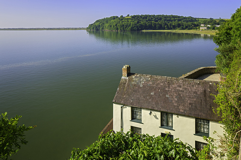 Dylan Thomas Boathouse and Taf estuary Laugharne Carmarthenshire South Houses Hoistoric Sites